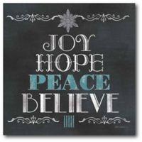 "Courtside Market ""Joy, Hope, Peace, Believe"" 16-Inch Square Canvas Wall Art"