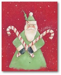 Santa with Candy Canes 20-Inch x 16-Inch Canvas Wall Art