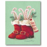 Courtside Market Stockings Stuffed with Candy Canes 20-Inch x 16-Inch Canvas Wall Art