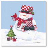 Snowman with Presents and Bird 20-Inch x 16-Inch Canvas Wall Art