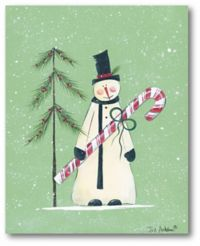 Snowman Christmas Tree 20-Inch x 16-Inch Canvas Wall Art