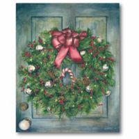 Wreath Candy Cane 20-Inch x 16-Inch Canvas Wall Art