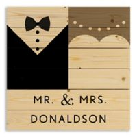 Mr. and Mrs. Wedding 21.38-Inch Square Wood Wall Art