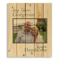 """Designs Direct """"Hey Gorgeous, Hiya Handsome"""" 18-Inch x 22-Inch Pallet Wood Wall Art"""