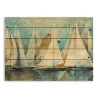 Designs Direct Painterly Sailboats 30-Inch x 21-Inch Pallet Wood Wall Art
