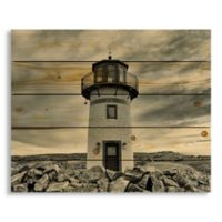 Designs Direct Stormy Lighthouse 22-Inch x 18-Inch Pallet Wood Wall Art