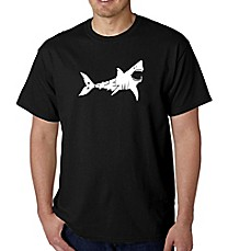 Men's Word Art Shark T-Shirt in Black