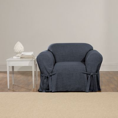 Sure Fit® 1 Piece Textured Linen Chair Slip Cover In Indigo