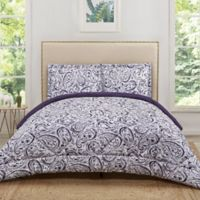 Truly Soft Watercolor Paisley Reversible Twin XL Comforter Set in Eggplant