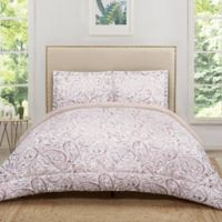 Truly Soft Watercolor Paisley Reversible King Comforter Set in Blush