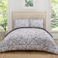 Truly Soft Watercolor Paisley Reversible Twin XL Comforter Set in Grey