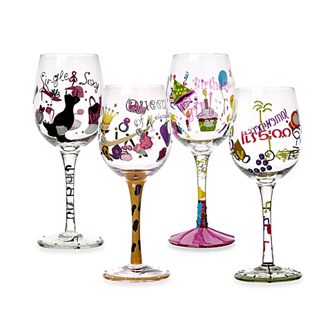Novelty Decal Wine Glasses Bed Bath Amp Beyond