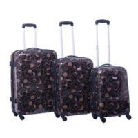 American Flyer 3-Piece Hardside Spinner Luggage Set in Chocolate Swirl