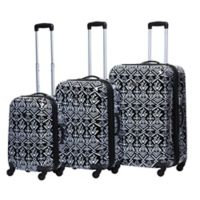 American Flyer 3-Piece Hardside Spinner Luggage Set in Tribal Black/White