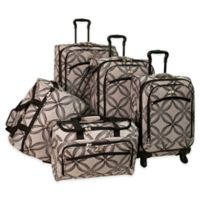 Silver Clover 5-Piece Spinner Luggage Set in Black/Grey
