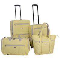 American Flyer Greek Key 4-Piece Rolling Luggage Set in Yellow