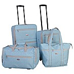 American Flyer Greek Key 4-Piece Rolling Luggage Set in Turquoise