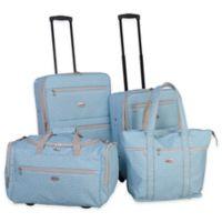 American Flyer Greek Key 4-Piece Rolling Luggage Set in Turquoise