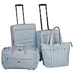 American Flyer Greek Key 4-Piece Rolling Luggage Set in Mint