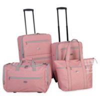 American Flyer Greek Key 4-Piece Rolling Luggage Set in Coral