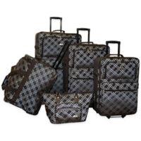 American Flyer Pemberly Buckles 5-Piece Rolling Luggage Set in Metallic Blue