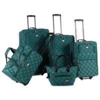 American Flyer Pemberly Buckles 5-Piece Rolling Luggage Set in Green