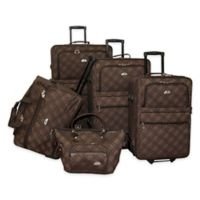American Flyer Pemberly Buckles 5-Piece Rolling Luggage Set in Chocolate