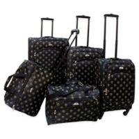 American Flyer Lyon 5-Piece Spinner Luggage Set in Black