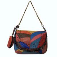 Amerileather Qmetal Jingles Leather Patchwork Handbag in Rainbow