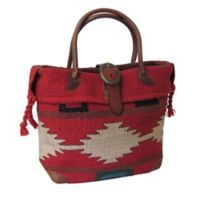 Roamer Wool & Leather Tote Bag in Red