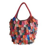 Peacock Leather Handbag in Rainbow