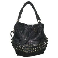 Amerileather Studded Tutu Leather Handbag in Black
