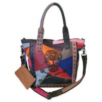 Amerileather QMetal Crossbones Handbag in Rainbow