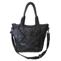 Amerileather QMetal Crossbones Handbag in Black