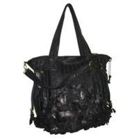 Amerileather Brook Leaf-Cut Leather Tote Bag in Black