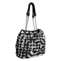 Amerileather Willet Leather Shoulder Bag in Black/White