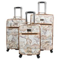 Chariot Map 3-Piece Expandable Luggage Set in Brown