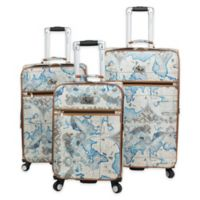 Chariot Map 3-Piece Expandable Luggage Set in Blue