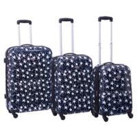 American Flyer Stars 3-Piece Hardside Spinner Set in Navy