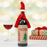 Merry Christmas Wine Bottle Label