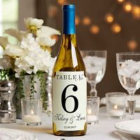 Wedding Table Number Wine Bottle Label
