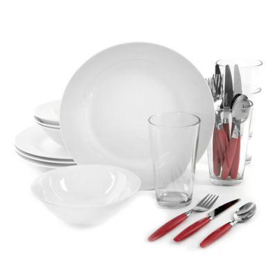 Total Kitchen 24-Piece Dinnerware Set in White  sc 1 st  Bed Bath u0026 Beyond & Buy College Dinnerware from Bed Bath u0026 Beyond