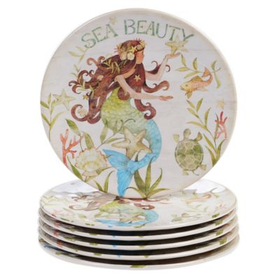 Certified International Sea Beauty by Susan Winget Melamine Salad Plates (Set of 6)  sc 1 st  Bed Bath u0026 Beyond & Buy Melamine Beach Plates from Bed Bath u0026 Beyond