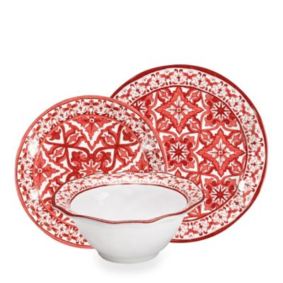 Q Squared Melamine Talavera 12-Piece Dinnerware Set in Rojo (Red)  sc 1 st  Bed Bath \u0026 Beyond : red and white dinnerware - pezcame.com