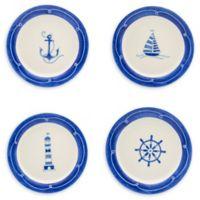 Euro Ceramica Nautical Ahoy Assorted Salad Plates (Set of 4)