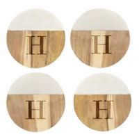 Cathy's Concepts Monogram Marble & Wood Coasters (Set of 4)