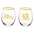 "Cathy's Concepts ""Mr. & Mrs."" Gold Rim Stemless Wine Glasses (Set of 2)"