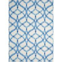 Nourison Sun & Shade Ogee Indoor/Outdoor 4'3 x 6'3 Area Rug in Blue