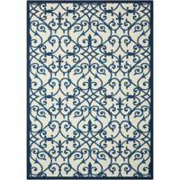 Nourison Home & Garden Trellis 7'9 x 10'10 Area Rug in Blue