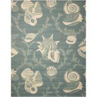 Nourison Portico Shells 8' x 10'6 Indoor/Outdoor Area Rug in Aqua